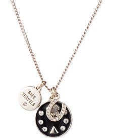 "DKNY Gold-Tone Triple Charm Crystal ""Safe Travels"" Pendant Necklace, 16"" + 3"" extender, Created for Macy's"