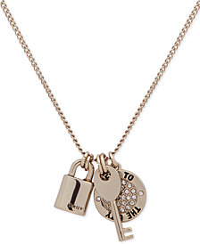 "DKNY Gold-Tone Pavé Keys to the City Pendant Necklace, 16"" + 3"" extender, Created for Macy's"