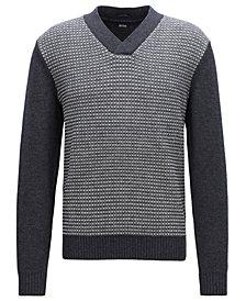 BOSS Men's V-Neck Virgin Wool Jacquard Sweater
