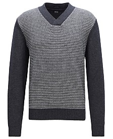 BOSS Men's V-Neck Virgin Wool Jacquard Sweater