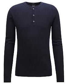 BOSS Men's Slim-Fit Henley Sweater