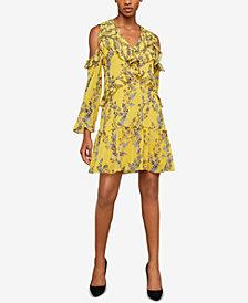 BCBGMAXAZRIA Stream of Bloom Cold-Shoulder Dress