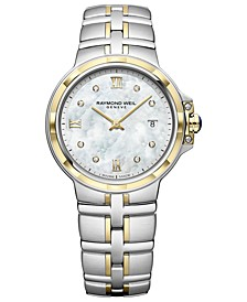 Women's Swiss Parsifal Diamond-Accent Two-Tone PVD Stainless Steel Bracelet Watch 30mm