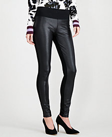 I.N.C. Crackle-Front Ponté-Knit Skinny Pants, Created for Macy's