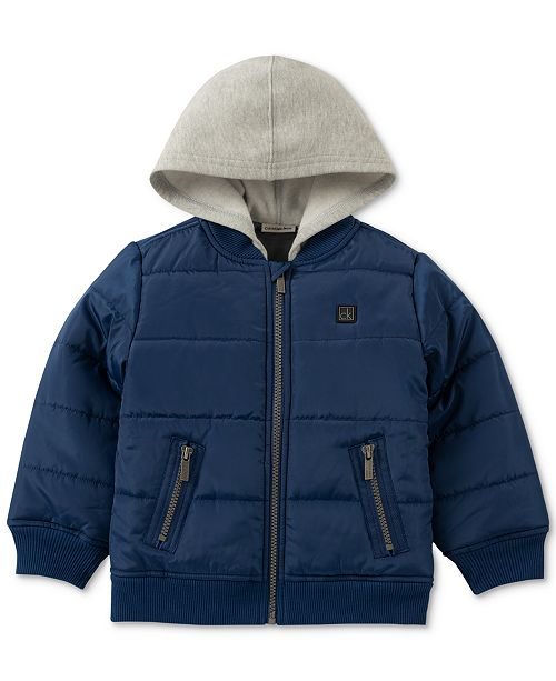 a18987f44 Calvin Klein Baby Boys Layered-Look Hooded Bomber Jacket ...