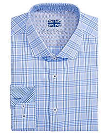 of London Men's Slim-Fit Glen Plaid Dress Shirt