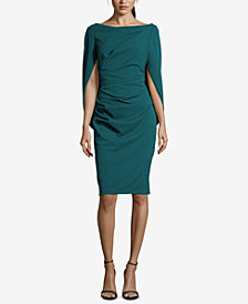 Betsy & Adam Ruched Cape Dress
