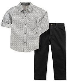 Calvin Klein Baby Boys 2-Pc. Printed Shirt & Twill Pants Set