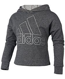 adidas Big Girls Logo-Print Sparkle Hoodie