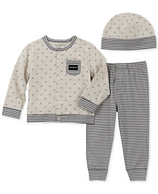 Calvin Klein Baby Boys 3-Pc. Top, Pants & Hat Layette Set