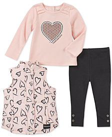Calvin Klein 3-Pc. Heart-Print Vest, Heart-Print T-Shirt & Leggings Set