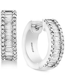 EFFY® Diamond Baguette Hoop Earrings (1 ct. t.w.) in 14k White Gold