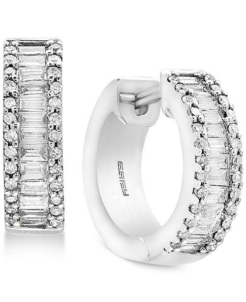 Effy Diamond Baguette Hoop Earrings 1 Ct T W In 14k White Gold