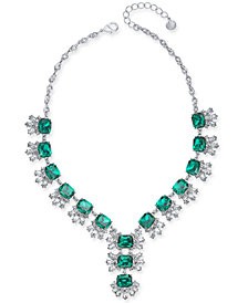 "Charter Club Silver-Tone Crystal & Stone Lariat Necklace, 17"" + 2"" extender, Created for Macy's"