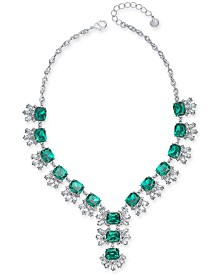 """Charter Club Silver-Tone Crystal & Stone Lariat Necklace, 17"""" + 2"""" extender, Created for Macy's"""