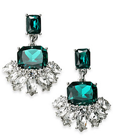 Charter Club Silver-Tone Emerald Crystal Drop Earrings, Created for Macy's