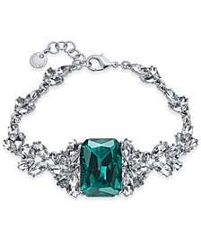 Charter Club Silver-Tone Emerald Crystal Link Bracelet, Created for Macy's