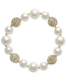 Charter Club Gold-Tone Imitation Pearl and Crystal Pavé Stretch Bracelet, Created for Macy's