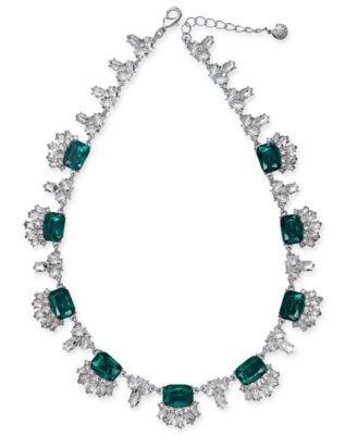 "Silver-Tone Crystal & Stone Collar Necklace, 18"" + 2"" extender, Created for Macy's"