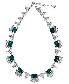 "Charter Club Silver-Tone Crystal & Stone Collar Necklace, 18"" + 2"" extender, Created for Macy's"