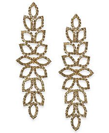 Thalia Sodi Gold-Tone Rhinestone Leaf Drop Earrings, Created for Macy's