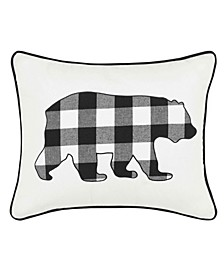 Cabin Plaid Bear Decorative Pillow