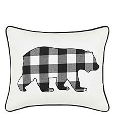 Cabin Plaid Bear Decorative Pillow