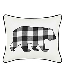 Eddie Bauer Cabin Plaid Bear Black Breakfast Pillow