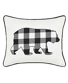 Eddie Bauer Cabin Plaid Bear Black Breakfast Pillow