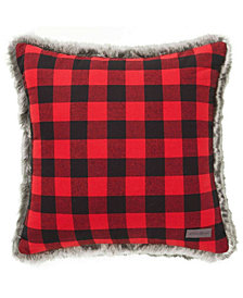 Eddie Bauer Cabin Plaid Faux Fur Red Square Pillow