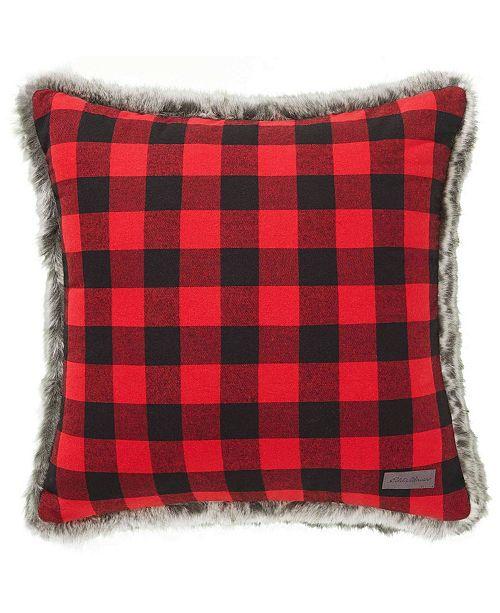 Eddie Bauer Cabin Plaid & Faux Fur Decorative Pillow