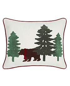 Bear Scene Dark Pine Breakfast Pillow