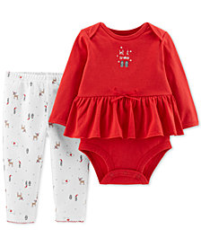 Carters Little Planet Organics Baby Girls 2-Pc. Peplum Bodysuit & Printed Pants Set