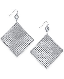 Silver-Tone Crystal Mesh Drop Earrings, Created for Macy's