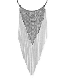 "Silver-Tone Crystal Fringe 16"" Statement Necklace, Created for Macy's"