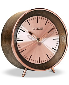 Citizen Workplace Bluetooth Brown Wood & Rose Gold-Tone Desk Clock