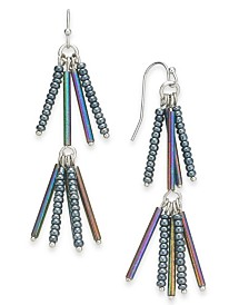 I.N.C. Silver-Tone Iridescent Bead Linear Drop Earrings, Created for Macy's