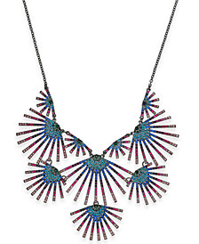 "I.N.C. Hematite-Tone Crystal Burst Statement Necklace, 18"" + 3"" extender, Created for Macy's"