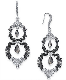 I.N.C. Silver-Tone Black Ombré Crystal Double Drop Earrings, Created for Macy's