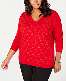 Tommy Hilfiger Plus Size Cotton Studded Argyle Sweater, Created for Macy's