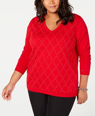 Tommy Hilfiger Plus Size Cotton Studded Argyle Sweater Created For