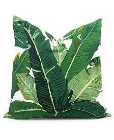 "Green Botanical Leaf Pillow 20"""