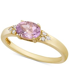 Rhodolite Garnet & Cubic Zironcia Ring in 18k Gold-Plated Sterling Silver (Also in Amethyst, Blue Topaz, Peridot or Citrine)