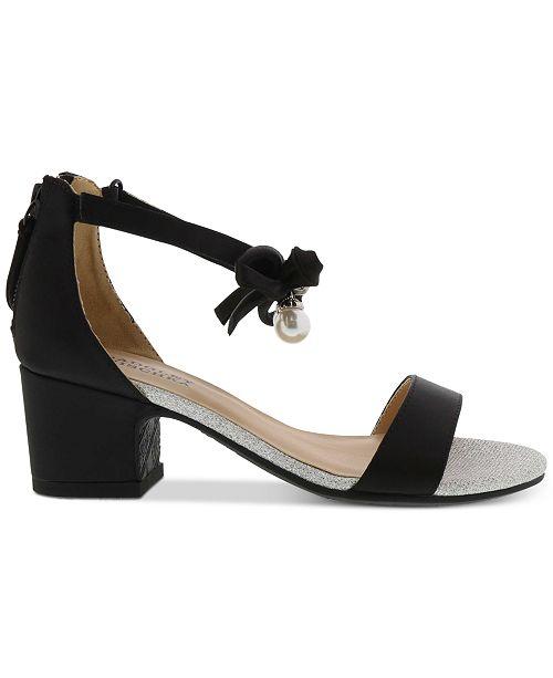 8691e35945a36c ... Badgley Mischka Badly Mischka Little   Big Girls Pernia Faux Pearl Bow  Sandals ...