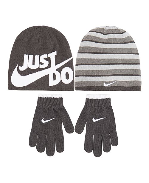 Nike Big Boys 2-Pc. Reversible Beanie Hat   Gloves Set - All Kids ... 503de32226f