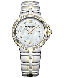 RAYMOND WEIL Women's Swiss Parsifal Diamond-Accent Two-Tone Stainless Steel Bracelet Watch 30mm