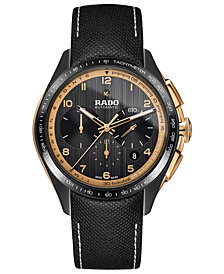 Rado Men's Swiss Automatic Chronograph HyperChrome Black Fabric Strap Watch 45mm