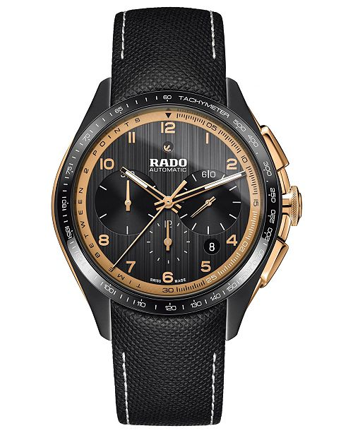 33fc9c9c3f7 ... Rado Men s Swiss Automatic Chronograph HyperChrome Black Fabric Strap  Watch ...