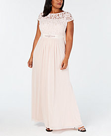 Adrianna Papell Plus Size Lace Illusion Gown