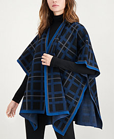 Anne Klein Plaid Cape Sweater